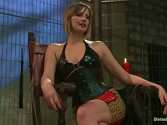 Three Clothespinned And Tied Up Guys Get Toyed By A Girl