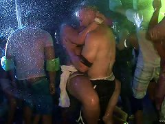 Bikini-clad Brunette With An Awesome Body Dancing And Having Fun In A Nightclub