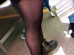 Beuauty Legs (teen) With Black Stockings Candid