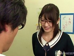 Nerdy Asian Sayuki Kanno Gives A Blowjob To A Guy In A Hall