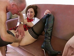 Two Seniors Are Fucking Young Brunette
