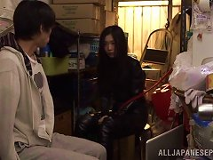 Angelic Asian Babe In A Leather Body Suit Enjoys Kinky Bondage Sex