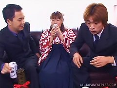 Tsumiki Shindo Blows And Fucks Two Guys That Will Cum On Her Body