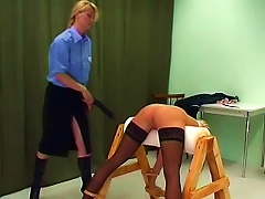 Police Officer Paddles A Naughty Young