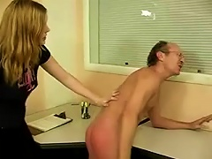 Blonde  Gives Her  A Spanking