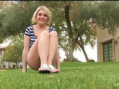 Sexy Blonde Solo Masturbation Outdoors Action Right Here