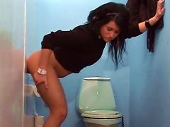 Katerina Swallows  In The Toilet