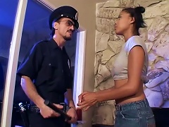 Ebony Teen Takes A Ride On An Officer's