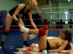 Naked Lesbian Chick Leyla Black Fights Another Lezzie On The Ring