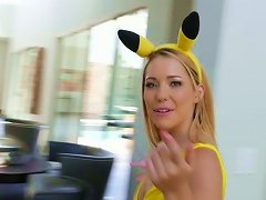 Sweet Blondie In Fancy Yellow Suit Raylin Ann Gets Banged In Mish Pose Tough