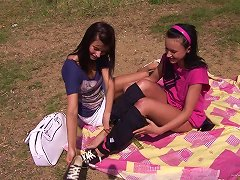 Horny Lesbians Toying Their Hot Pussies At The Park