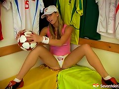 A Naughty Soccer Player Fucks Her Pussy With Her Toy
