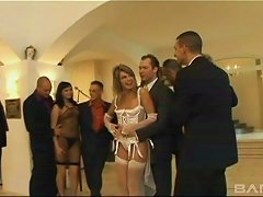 Lingerie-clad Cougar With A Gorgeous Body Enjoying A Hardcore Gangbang