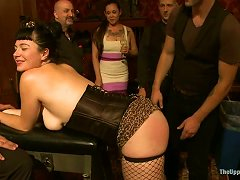 Two Brunettes In Fishnets Toy Their Pussies And Get Spanked