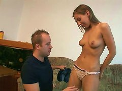 Leggy And Slim Dark Haired Gal Gives Steamy Deep Throat To Her Neighbor