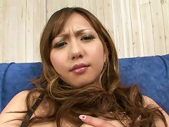 Lustful Japanese Bombshell Strokes Her Firm Tits And Bald Pussy With Fingers