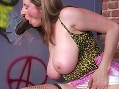 Blonde With Big Natural Jugs Is Sucking A Thick Cock Through The Wall