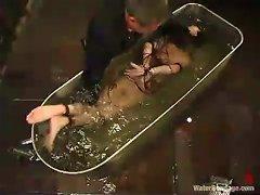 Slim Redhead Girl Gets Humiliated In A Filled Bathtub