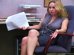 Aiden Starr Rubs Some Guy's Dick With Her Feet In An Office