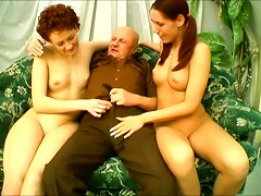 Old Bald Dude Is Insane Ing Two Young Pussies