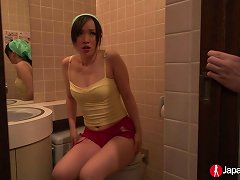 Lovely And Young Japanese Chick In The Bathroom Shows Her Breasts