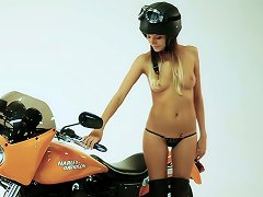 Hot Chick Clover Poses Naked On A Bike On Photo Shoot