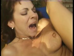 Sexy Brunette Babe Gets A Cock In Her Ass And Cum On Her Face Outside