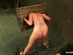 Gagged Girl In The Stocks Gets Spanked And Tortured