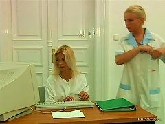 Hot Blonde Giving A Blowjob To The Boss For Science
