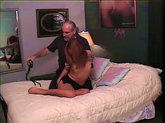 Old Guy Binds And Suspends Cute Asian Whore With No Tits Above Hotel Bed