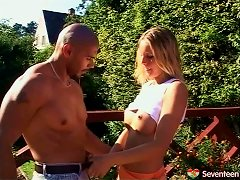 Black Gardener Fucks His Giant Dick Into Her Teen Pussy
