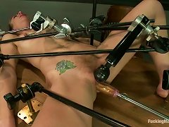 Slim Girl Lies On A Table In A Classroom And Get Toyed