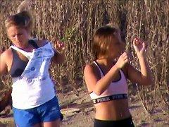 Horny Beach Teens In Leggings Big Tits