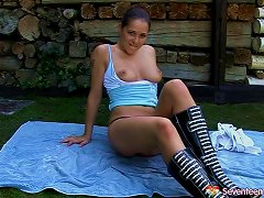 Dark Haired Brunette Wearing Leather Boots Goes Solo As She Masturbates Outdoors