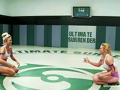 Well-endowed Blondes Darling And Holly Heart Enjoy Wrestling On Tatami