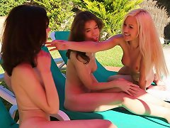3 Girls Just Chilling At Pool