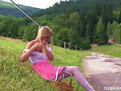 Sexy Blonde With Braids Fingers Her Hole On A Summer Day