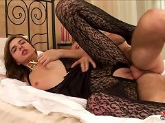 Cute Teen Gal Fucks In Sexy Black Pantyhose