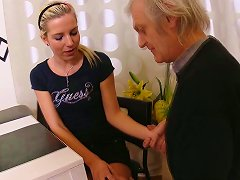 Sweet Blonde Teen Came To Visit An Old But Horny Friend Of Her Grandpa