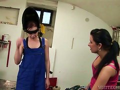 Sexy Lesbian Babes Get Dirty In The Garage