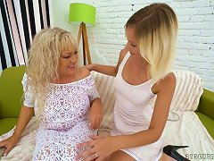 Sweet And Fresh Blonde Hottie Wants To Eat Pussy Of A Mature Blondie