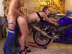 Pretty Babe Loves The Biker And His Big Cock Meat