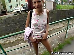 Playful Blonde Teen Sucks A Cock And Gets Facialed In The Street