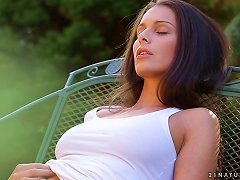 Brunette Babe Lia Taylor Pleases Herself With Fingering In The Garden