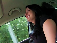 Brunette With Nice Juggs Gives Blowjob Sitting In Car