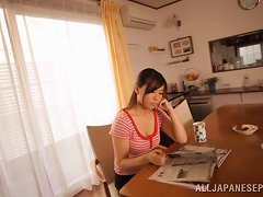 Long-haired Japanese MILF Gives A Blowjob To Her Husband