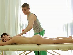 Teen On The Massage Table Takes Masseur Cock Inside Her