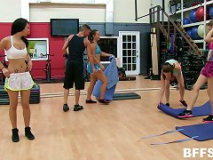 Lewd Vixens Being Fucked Silly By Their Hung Trainer At The Gym