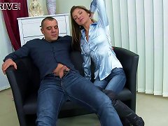 Warning - Skinny Girl In A Blue Satin Blouse Fucked As Friends Watch