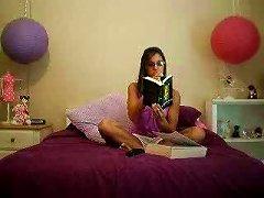 One Nerdy Brunette Webcam Teen Flaunts In Er Bedroom Topless